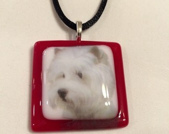 Fused Glass Westie Necklace-Free Shipping