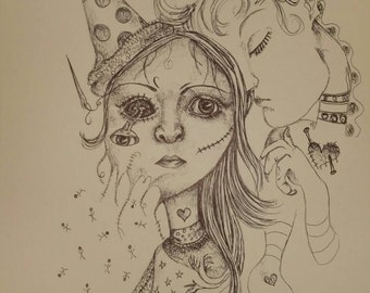 Doll pen drawing, gothic, creepy art, weird art