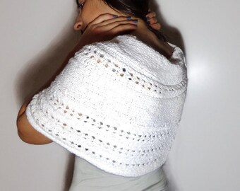 Little bride poncho, white bride shawl, stark white bride knitted stole, little lace knitted cotton poncho, white cotton lace stole.