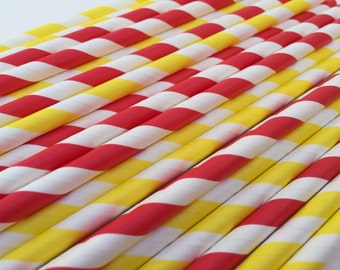 Firetruck Paper Straws - 25 Firetruck Party Straws, Red Firetruck Party Supplies, Fireman Party, Firefighter Party Supplies