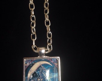Dragon in the moon charm necklace