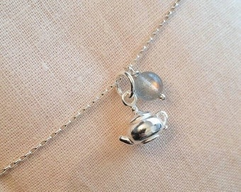 Solid sterling silver teapot pendant sterling silver chain necklace with rainbow sheen moonstone quartz