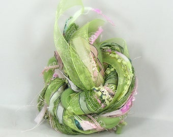 Peppermint Patty Elements 26yds Specialty Art Yarn Bundle Textile Fiber Pack Merino Wool Organza Ribbon, Spring Green Mint Carnation Pink