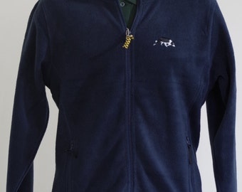 Ladies Navy Fleece Jacket Embroidered with a sheepdog / Border Collie Design