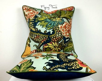 Aquamarine Chiang Mai Dragon Pillow cover - Customize to fit YOUR Decor - Knife Edge OR Piped finish - Schumacher Designer Fabric