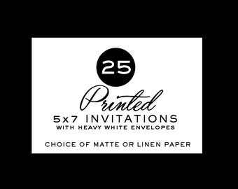 25 Printed Invites, Professional Printing Services, P27Creative Invitation Printing, Double Sided Full Color, Matte or Linen