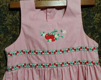 Little girl 80's  red cherry vintage  dress. by Pasty Alken.