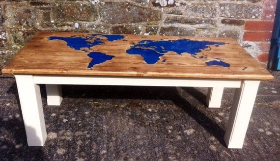 Solid Wood Coffee Table Glow Table With Inlaid By