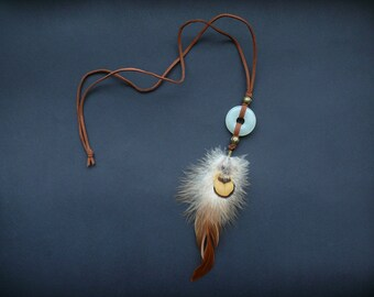 Gemstone and feather pendant necklace bohemian boho hippie tribal jewelry leather pendant