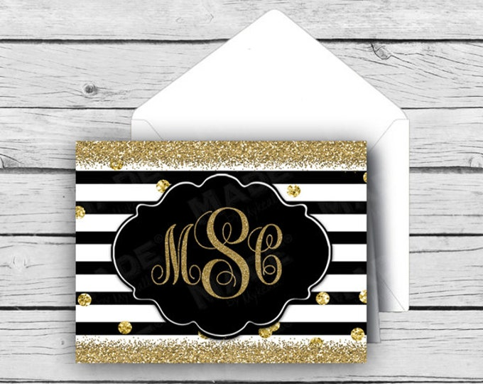 Script MONOGRAM Note Card Set - Gold Glitter, Stationery, Printed Stationery, Thank You Cards