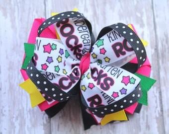 Kindergarten Rocks hair bow, Kindergarten hair accessory, School hair bow, pinwheel hair bow, Big Hair Bow