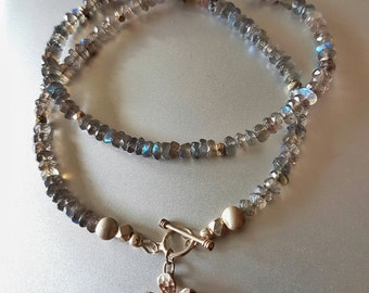 Faceted Labradorite NECKLACE With Fine Silver Beads, Toggle Clasp and Flower Charm
