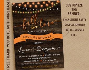 Fall couples shower invitation / Fall bridal shower invitation