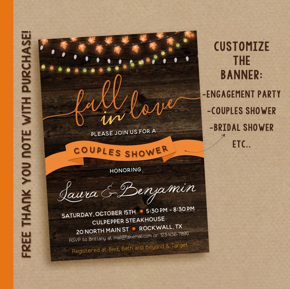 Fall in love invitations, Engagement Party invitations, Couples Shower Rustic Invite Printable
