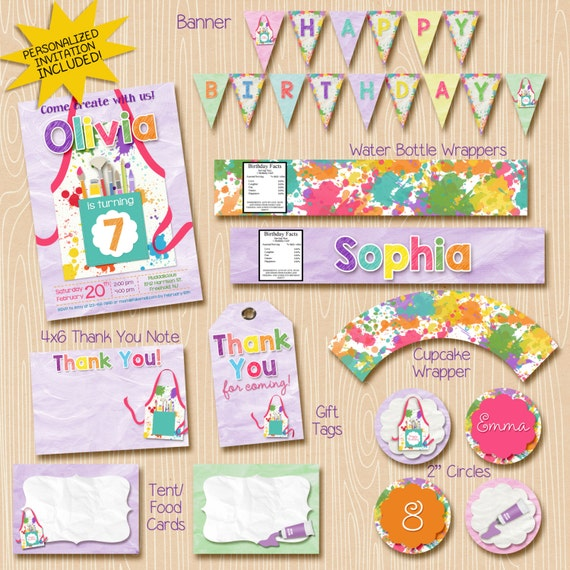 Art Party Printables Package - Art Party Decorations - Art Party Invitation - Painting Party Printables