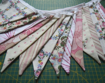 Pink Floral Vintage Fabric Bunting
