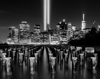 NYC Photography, 9/11 Tribute Lights, New York City Photo, Black and White NYC, Brooklyn Photography, Urban Decay