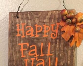Happy fall y'all sign Rustic Fall decor Autumn wall decor Fall wall sign Rustic signs