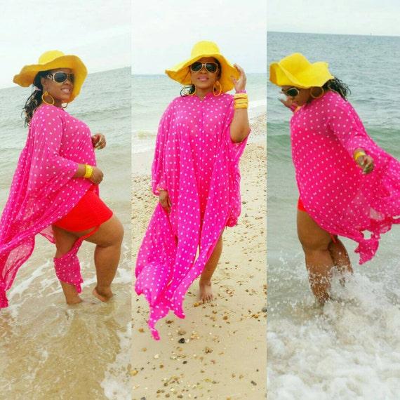 Gorgeous swimsuit coverup beach wear kaftan in pink polkadot chiffon