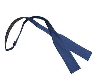 JA Herringbone Silk Midnight Blue Batwing Self Tie Bow Tie