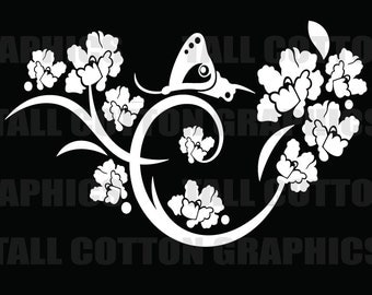 Snail and Butterfly on flowers Vinyl Decal  - #BS053