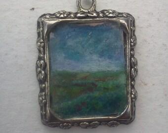 hand painted landscape pendant