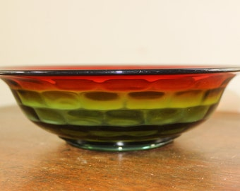 Vintage Cambridge Glass Company Center Bowl– 1925 Rubina Honeycomb – Collectible, 10 Inch Red Green Yellow Orange