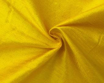 "Yellow 100% Pure Silk Dupioni Fabric 54""Wide BTY Drape Blouse Dress Craft FREE SHIPPING"