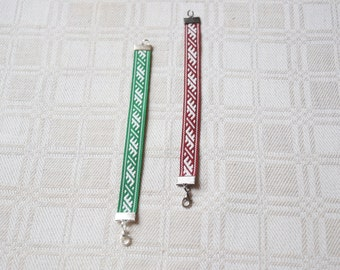 "Fabric Bracelet with Latvian folkloric design / ""Usins"" design / Latvian jewelery / gift"