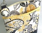 paisley cross body bag..yellow paisley zippered bag with adjustable removable strap..everyday spring purse.colourful hands free tote.