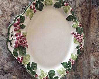 GRAPE LEAVES,Oval Serfving Platter, made in Portugal