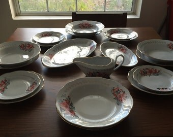 RIGA PORCELAIN Factory , RPR, Rare Vintage Made in Russian 19 pieces Floral Décor Dinnerware