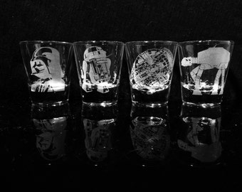Star Wars Shot Glasses - Set of 4 - Darth Vader -R2-D2 -Millennium Falcon -All Terrain Armored Transport (AT-AT) walker