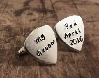 Personalised mini guitar pick cufflinks