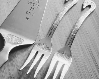 Hand stamped cake server and 2 matching forks