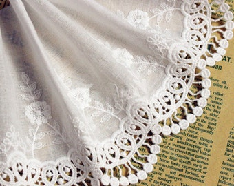 White lace trim, embroiderd lace with retro flowers, vintage trim lace 5.11 Inches Wide, bridal gown lace fabric, cotton lace 2 Yards YL449