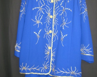 Blue/gold 2pcs  jacket & skirt set #3433