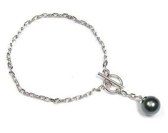 "7"" Sterling Silver 10-11mm Tahitian Black Pearl Chain Bracelet BPB086STA"