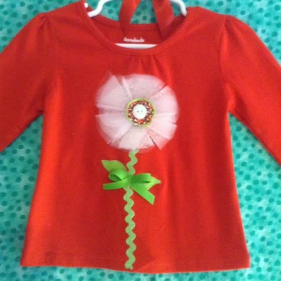 Toddler girl's tulle Christmas flower appliqué top  SALE 50% off