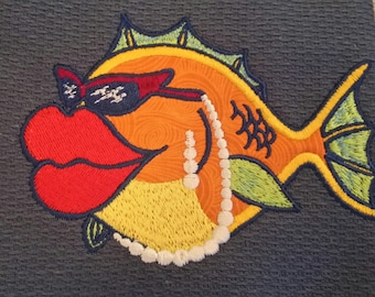 Tropical Fish-Embroidered & Applique Towel
