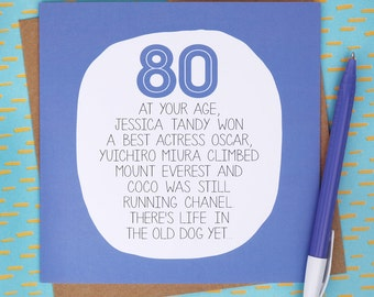 80th Birthday Card - At Your Age - Funny 80th Birthday Card - Eighty - Eightieth
