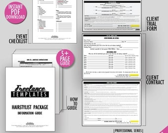 freelance hairstylist contracts package wedding instant download hairstylist business forms - Freelance Hair Stylist