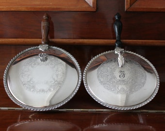 Silent Butler Set  by Marlboro Plate Old English Reproduction, Wooden Handle , One F Monogram Initial  One Plain