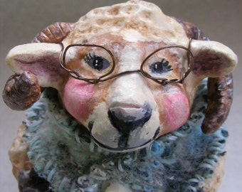"Lamb Figurine ""Grammy Lammy"" paperclay sheep figurine knitting grandma granny shawl horned sheep knitting figurine spring sheep decor"