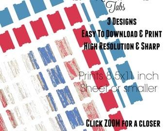 American - Planner Printables - Journal Tabs - Planner Tabs - Project Planner Digital - Journal Printable - Page Flags - Book Tabs