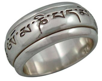 """Om Mani Padme Hum """"MANTRA"""" Spinning Wheel Prayer Meditation Spinning Ring in Sterling Silver by Energy Stone (Style# US24)"""