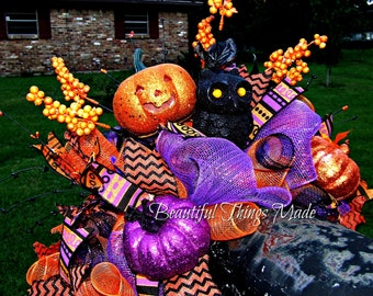 Halloween Mailbox Swag, deco mesh Mailbox topper, mailbox decoration, Halloween decor, halloween party decoration, Jackolantern, Owl