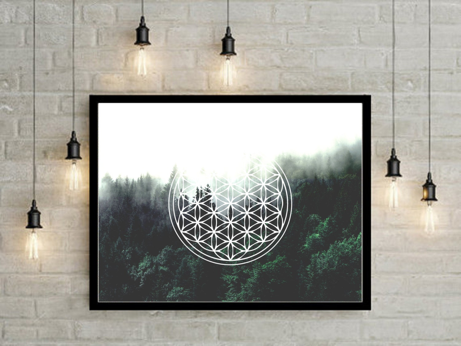 sacred geometry forest poster nature photography nature art abstract art urban decor - Urban Decor