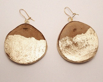 Circle earrings, Wood earrings ,  Eco earrings , Gold earrings