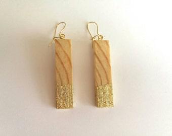Wood earrings ,  Eco earrings , Gold earrings, Geometrical earrings, Minimal earrings, Geometric earrings